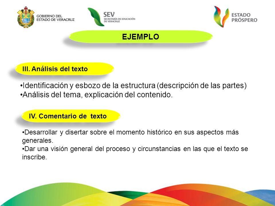 EJEMPLO III. Análisis del texto Identificación y esbozo de la estructura (descripción de las partes) Análisis del tema, explicación del contenido. IV.