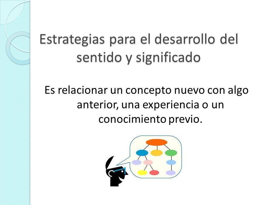 Estrategias para el desarrollo del sentido y significado Es relacionar un concepto nuevo con algo anterior, una experiencia o un conocimiento previo.