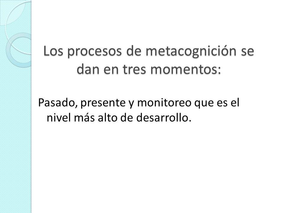Los procesos de metacognición se dan en tres momentos: Pasado, presente y monitoreo que es el nivel más alto de desarrollo.
