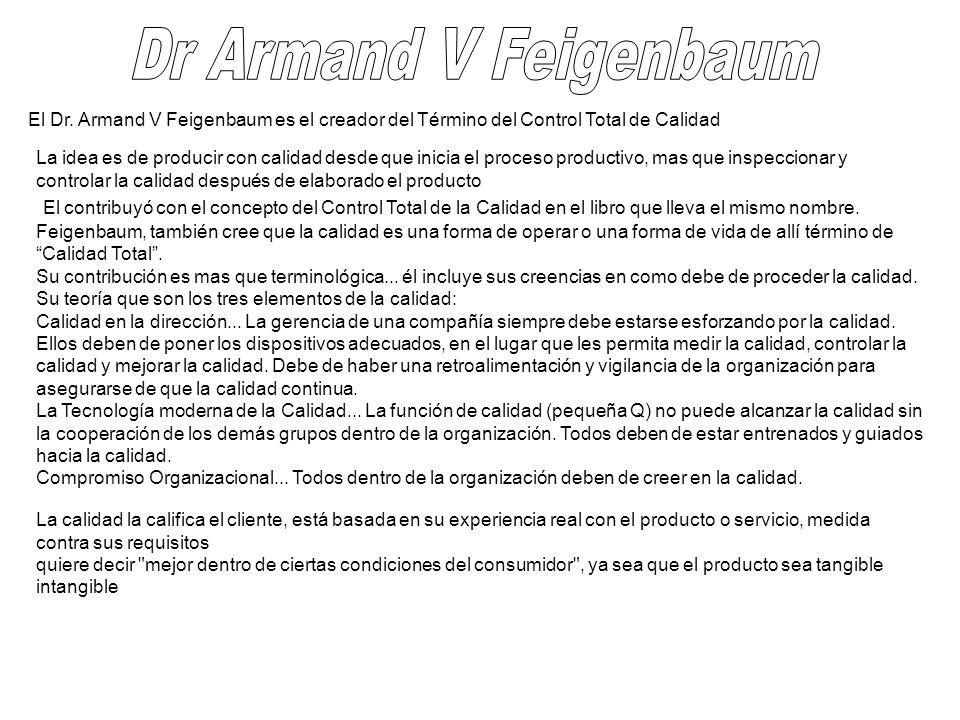 El Dr. Armand V Feigenbaum es el creador del Término del Control Total de Calidad La idea es de producir con calidad desde que inicia el proceso produ