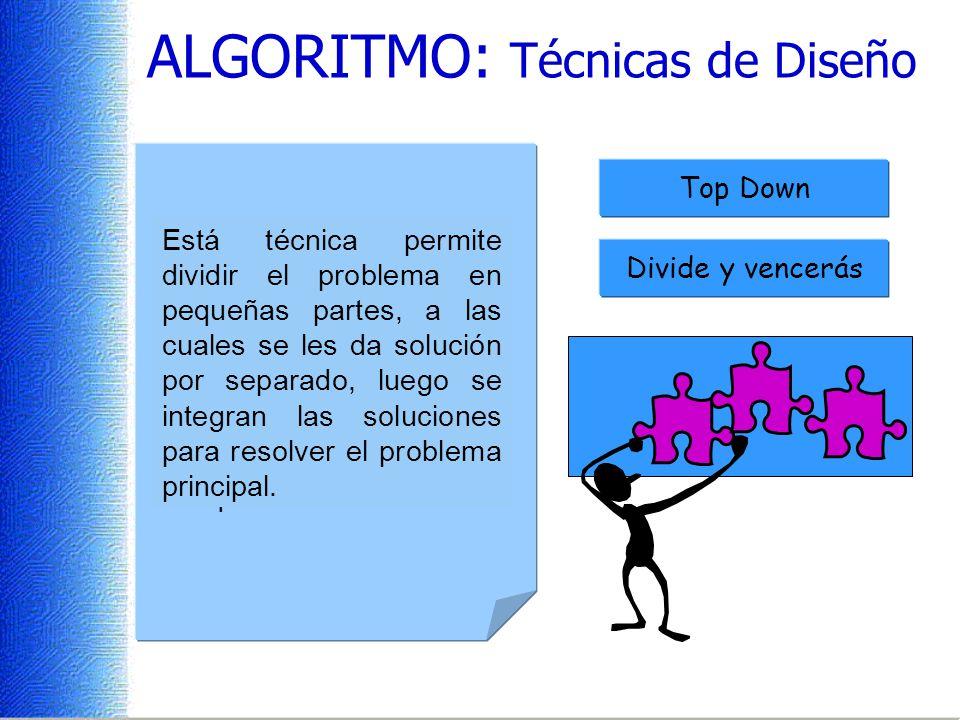 ALGORITMO: Técnicas de Diseño Es una técnica de diseño descendente donde se realiza un refinamiento sucesivo, que permite darle una organización a las instrucciones, en forma de módulos o bloques.