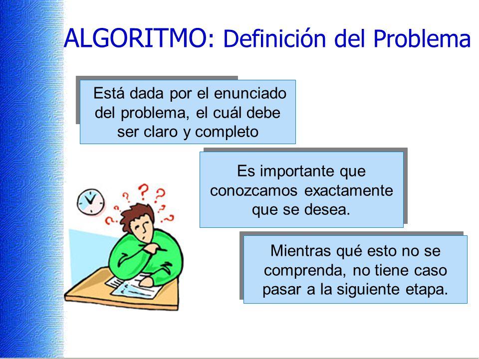 ALGORITMO : Definición del Problema Está dada por el enunciado del problema, el cuál debe ser claro y completo Es importante que conozcamos exactamente que se desea.