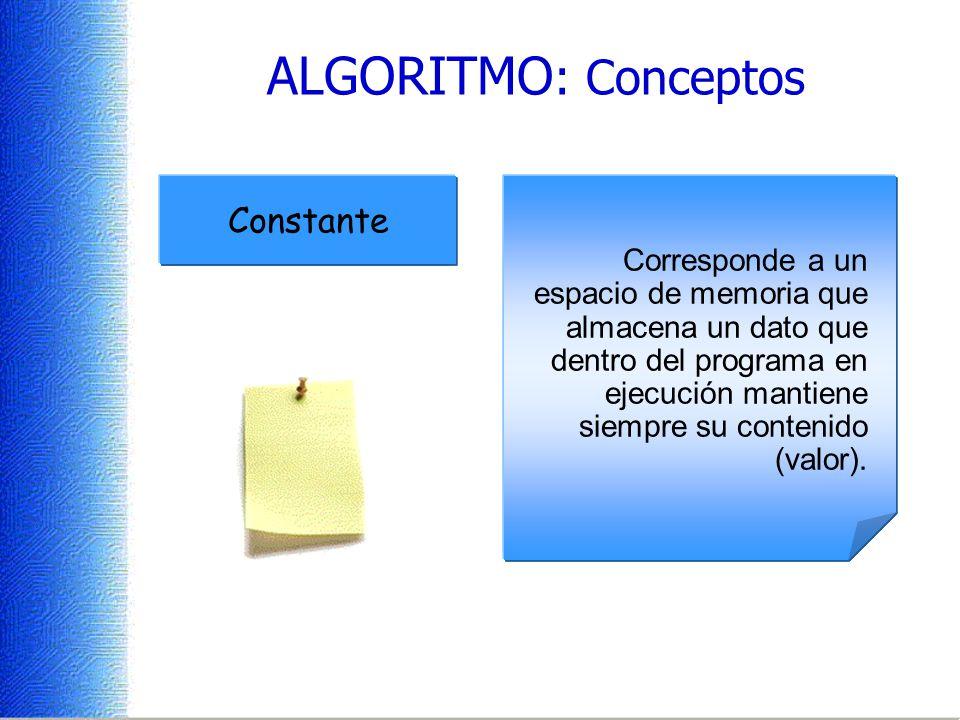 ALGORITMO : Conceptos Minima parte de la información. Se refiere a los elementos que se utilizan en los algoritmos para realizar alguna operación sobr