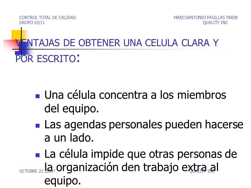 VENTAJAS DE OBTENER UNA CELULA CLARA Y POR ESCRITO : Una célula concentra a los miembros del equipo.