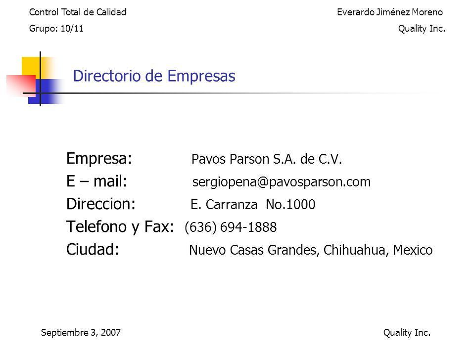 Directorio de Empresas Empresa: Pavos Parson S.A.de C.V.