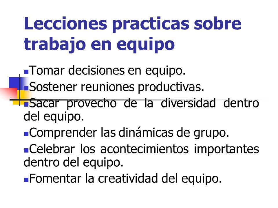 Lecciones practicas sobre trabajo en equipo Tomar decisiones en equipo.