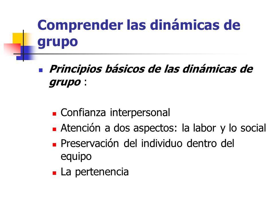 Comprender las dinámicas de grupo Principios básicos de las dinámicas de grupo : Confianza interpersonal Atención a dos aspectos: la labor y lo social Preservación del individuo dentro del equipo La pertenencia