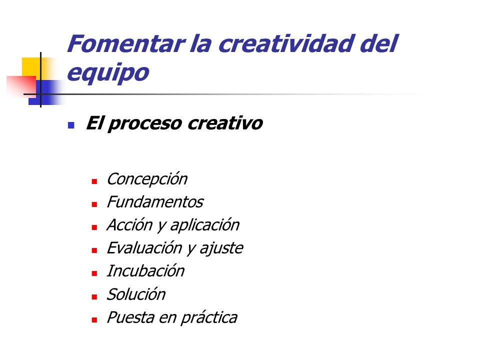 Fomentar la creatividad del equipo El proceso creativo Concepción Fundamentos Acción y aplicación Evaluación y ajuste Incubación Solución Puesta en práctica
