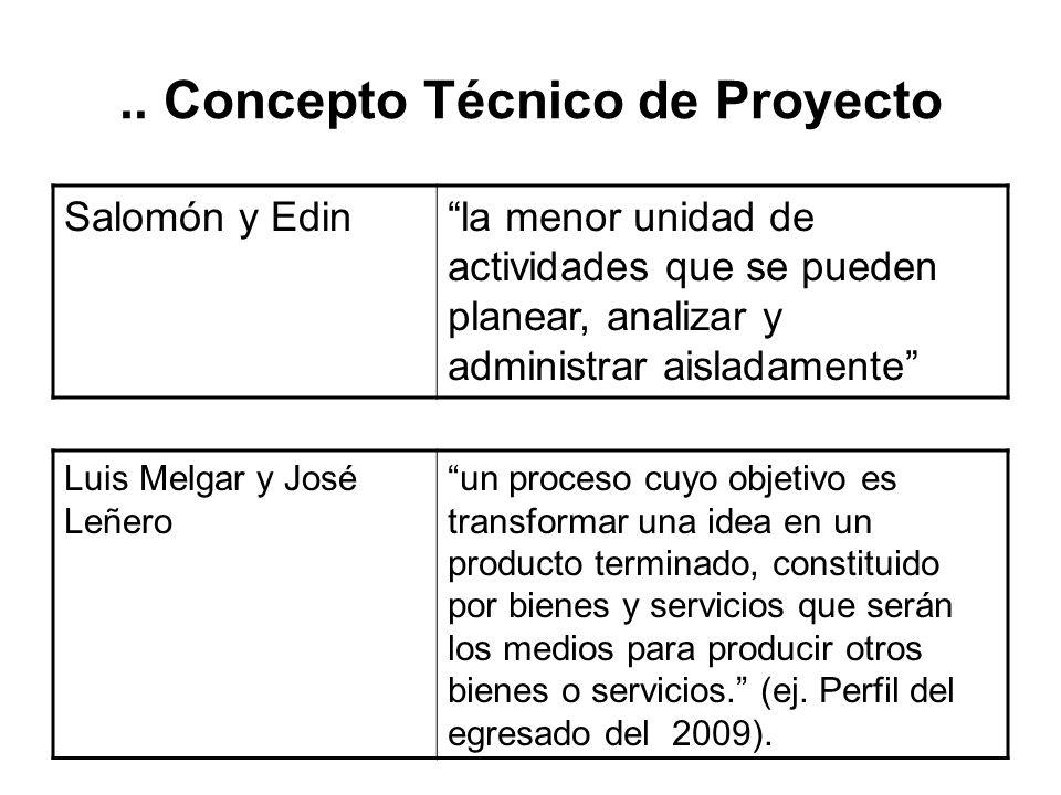 Concepto Técnico de Proyecto ONU, 1973 [criterio de racionalización] conjunto de antecedentes que permiten estimar las ventajas y desventajas económic