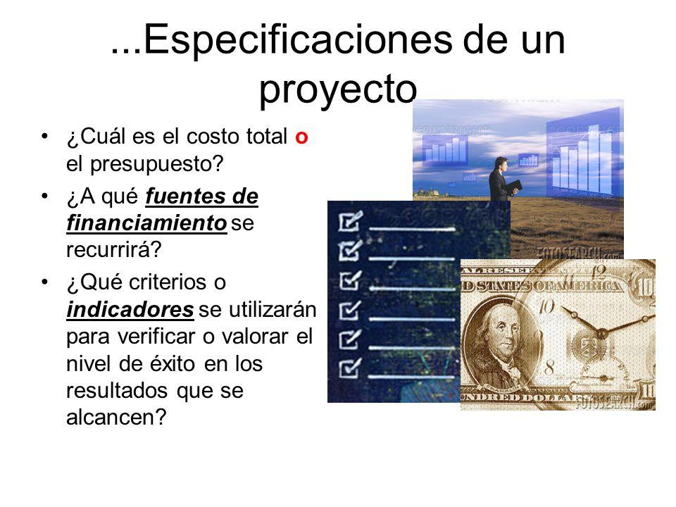 Especificaciones de un proyecto Un proyecto bien formulado debe especificarse con toda claridad. Un proyecto bien formulado debe especificarse con tod