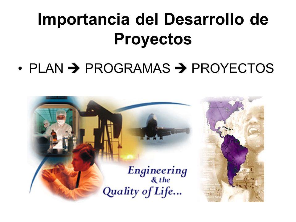 Importancia del Desarrollo de Proyectos PLAN PROGRAMAS PROYECTOS