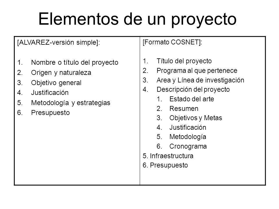 Clasificación de proyectos – Criterios para definir categorías 1.Criterio de producto 2.Criterio en función del método 3.Criterio de instrumentación 4