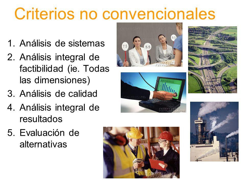 Criterios convencionales 1.Factibilidad técnica 2.Factibilidad económica 3.Costo-beneficio 4.Costo-utilidad 5.Costo-eficiencia 6.Análisis de resultado