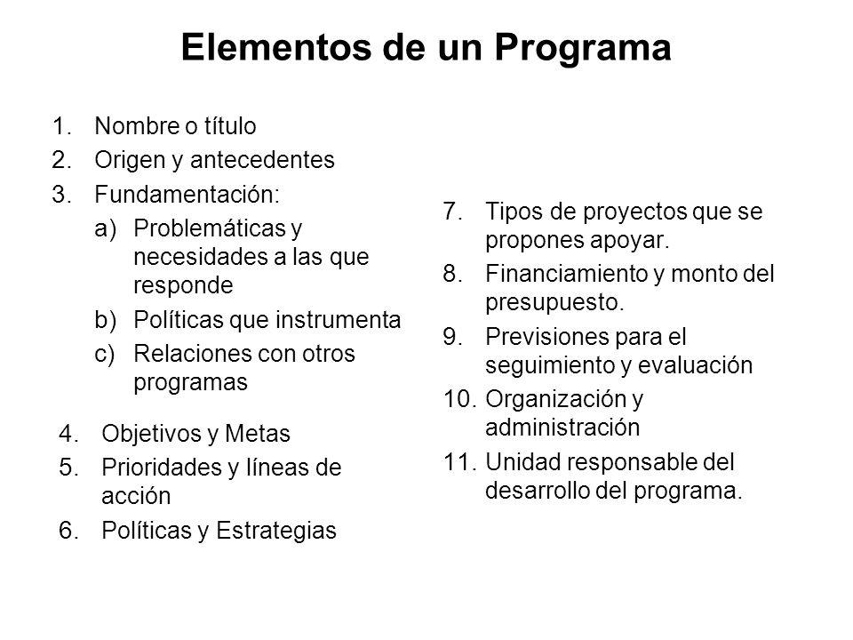 Elementos de un Plan 1. Nombre o título 2. Origen y antecedentes 3. Marco general de referencia: a) Condiciones del contexto socio-económico, político