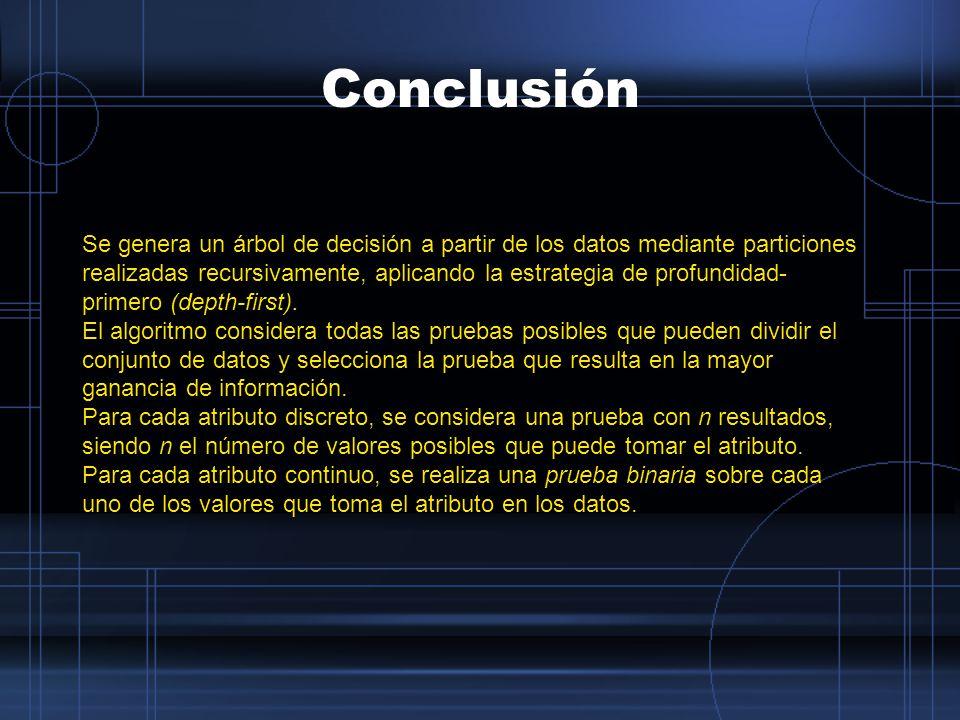 Conclusión Se genera un árbol de decisión a partir de los datos mediante particiones realizadas recursivamente, aplicando la estrategia de profundidad