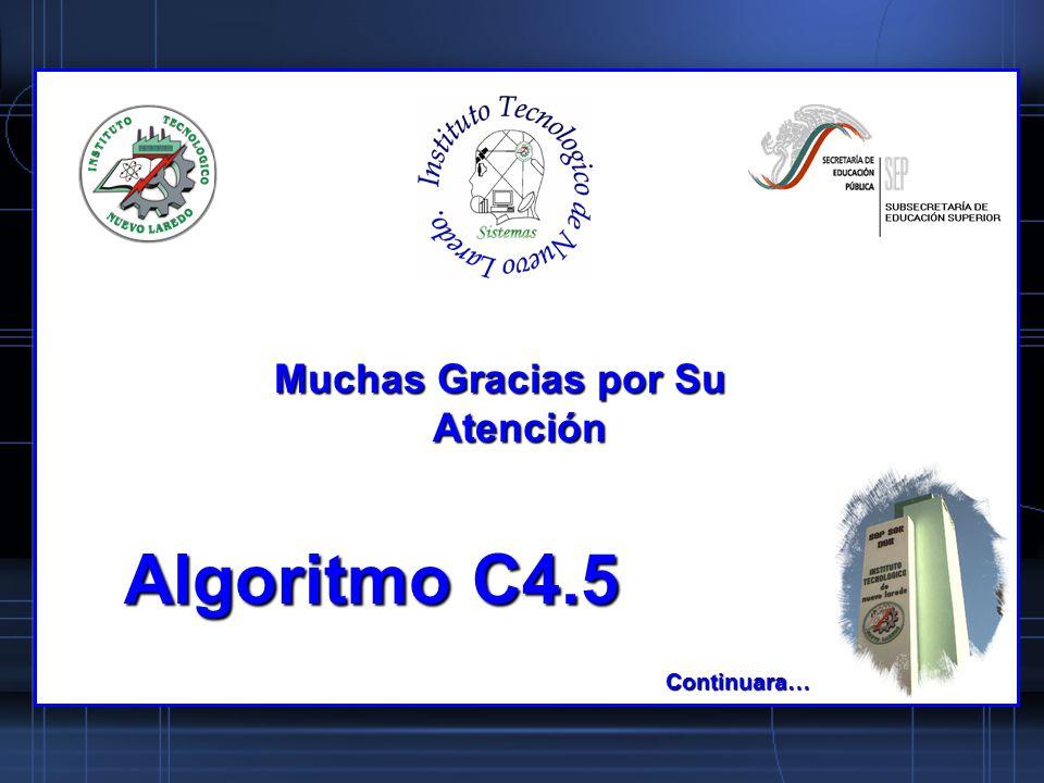 Algoritmo C4.5 Muchas Gracias por Su Atención Continuara…