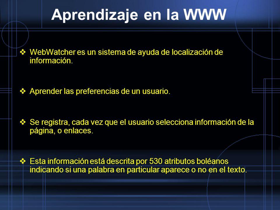 Aprendizaje en la WWW WebWatcher es un sistema de ayuda de localización de información. Aprender las preferencias de un usuario. Se registra, cada vez