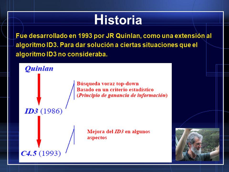 H istoria Fue desarrollado en 1993 por JR Quinlan, como una extensión al algoritmo ID3. Para dar solución a ciertas situaciones que el algoritmo ID3 n