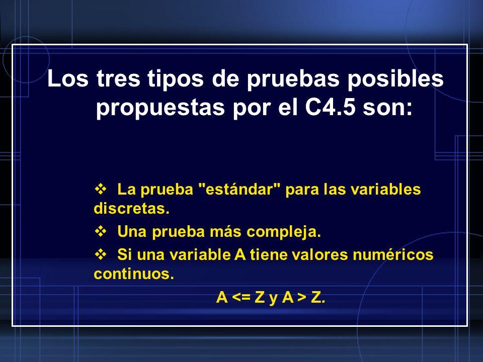 Los tres tipos de pruebas posibles propuestas por el C4.5 son: La prueba