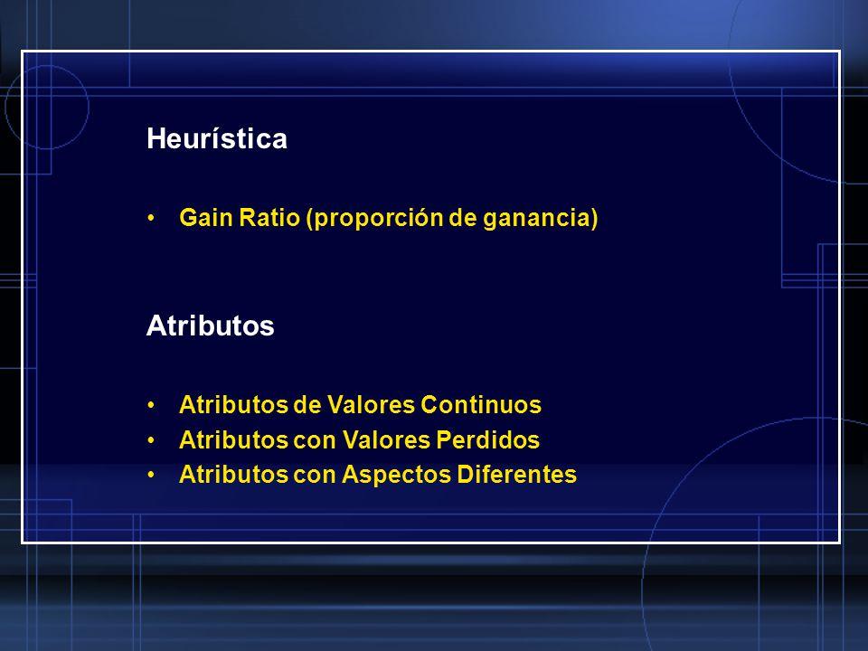 Heurística Gain Ratio (proporción de ganancia) Atributos Atributos de Valores Continuos Atributos con Valores Perdidos Atributos con Aspectos Diferent