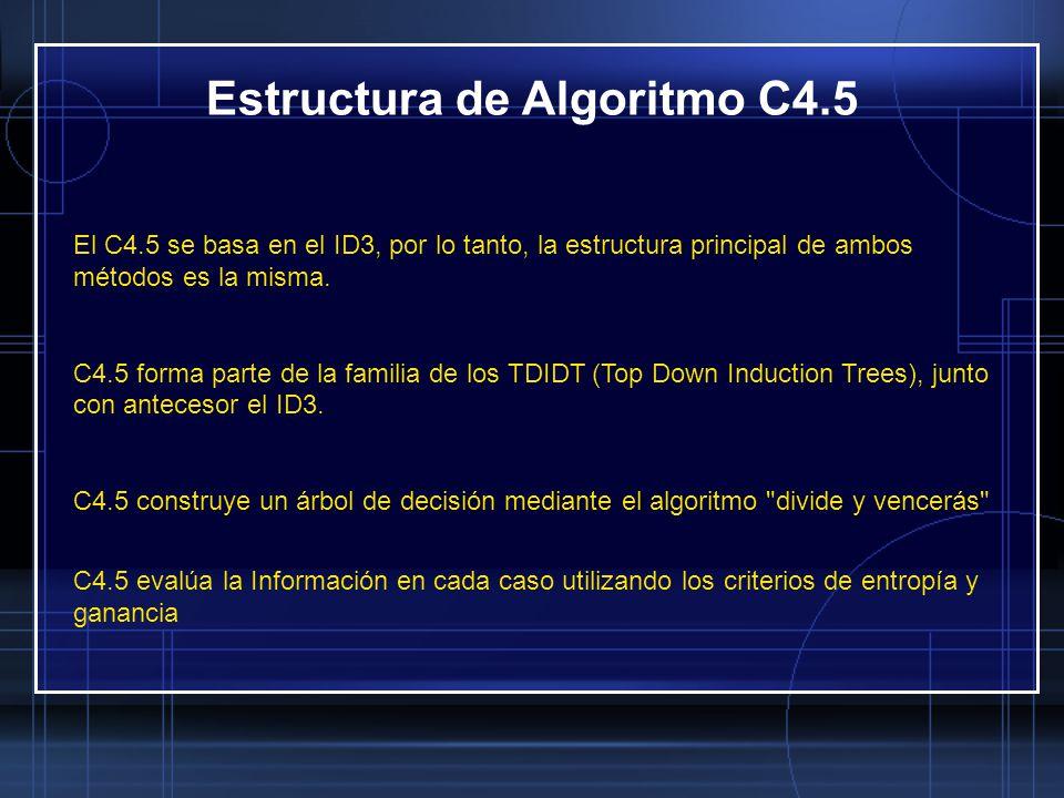 El C4.5 se basa en el ID3, por lo tanto, la estructura principal de ambos métodos es la misma. C4.5 forma parte de la familia de los TDIDT (Top Down I