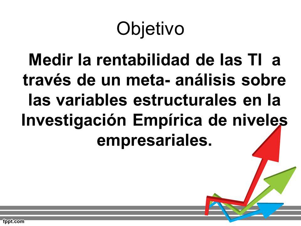 Objetivo Medir la rentabilidad de las TI a través de un meta- análisis sobre las variables estructurales en la Investigación Empírica de niveles empre