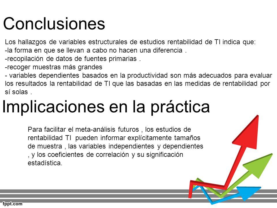 Conclusiones Implicaciones en la práctica Los hallazgos de variables estructurales de estudios rentabilidad de TI indica que: -la forma en que se llev