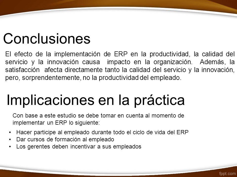 Conclusiones Implicaciones en la práctica El efecto de la implementación de ERP en la productividad, la calidad del servicio y la innovación causa impacto en la organización.