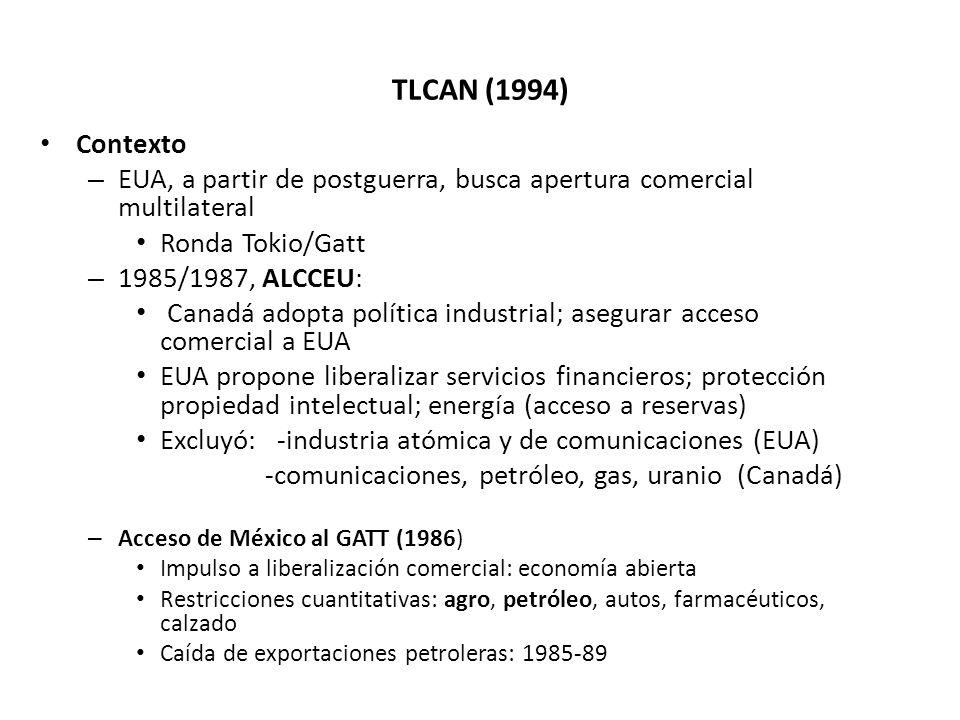 TLCAN (1994) Contexto – EUA, a partir de postguerra, busca apertura comercial multilateral Ronda Tokio/Gatt – 1985/1987, ALCCEU: Canadá adopta polític