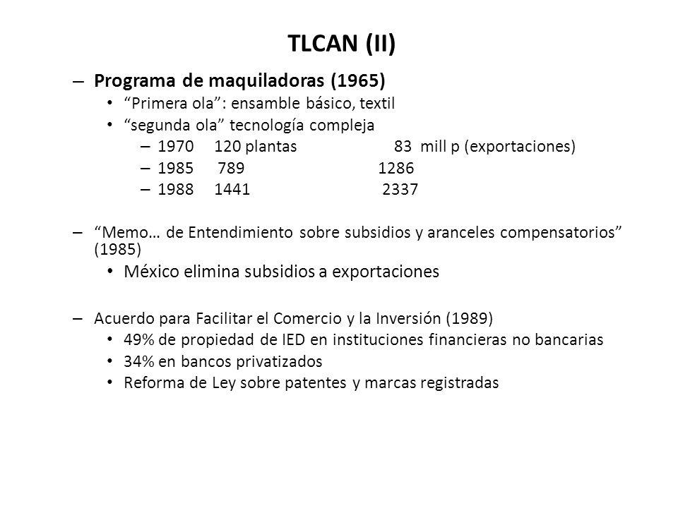 TLCAN (II) – Programa de maquiladoras (1965) Primera ola: ensamble básico, textil segunda ola tecnología compleja – 1970 120 plantas 83 mill p (exportaciones) – 1985 789 1286 – 1988 1441 2337 – Memo… de Entendimiento sobre subsidios y aranceles compensatorios (1985) México elimina subsidios a exportaciones – Acuerdo para Facilitar el Comercio y la Inversión (1989) 49% de propiedad de IED en instituciones financieras no bancarias 34% en bancos privatizados Reforma de Ley sobre patentes y marcas registradas