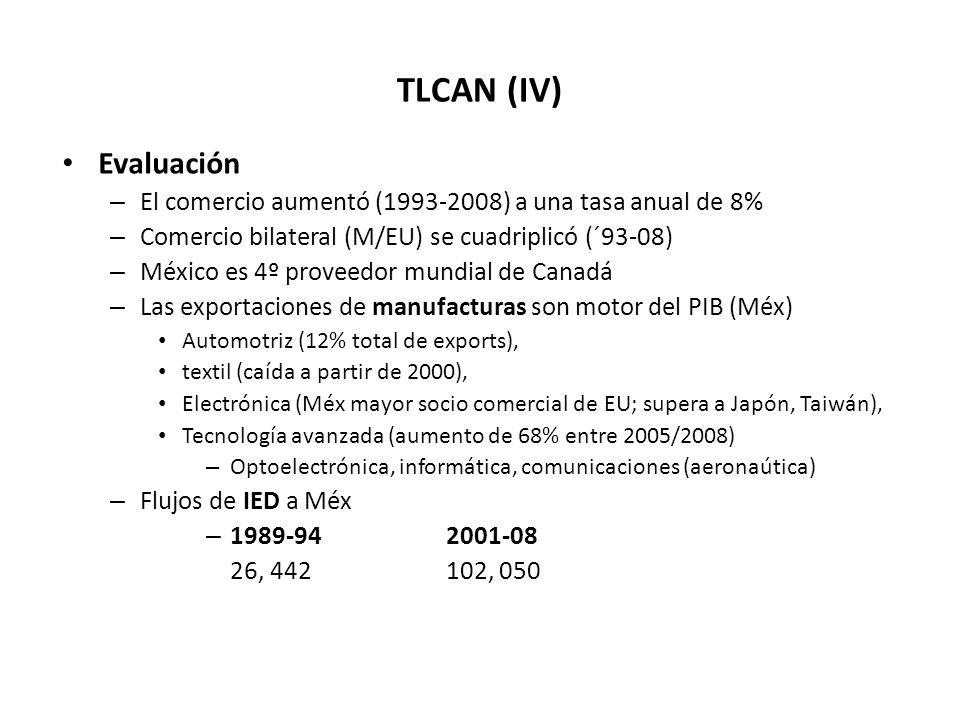 TLCAN (IV) Evaluación – El comercio aumentó (1993-2008) a una tasa anual de 8% – Comercio bilateral (M/EU) se cuadriplicó (´93-08) – México es 4º proveedor mundial de Canadá – Las exportaciones de manufacturas son motor del PIB (Méx) Automotriz (12% total de exports), textil (caída a partir de 2000), Electrónica (Méx mayor socio comercial de EU; supera a Japón, Taiwán), Tecnología avanzada (aumento de 68% entre 2005/2008) – Optoelectrónica, informática, comunicaciones (aeronaútica) – Flujos de IED a Méx – 1989-942001-08 26, 442102, 050