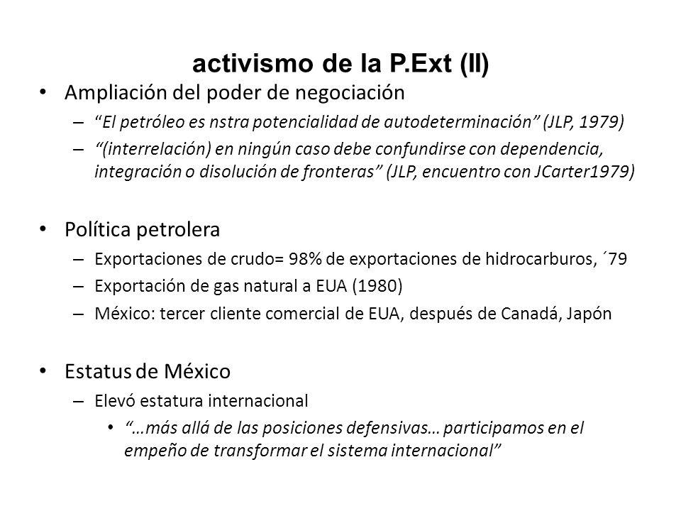 activismo de la P.Ext (II) Ampliación del poder de negociación –El petróleo es nstra potencialidad de autodeterminación (JLP, 1979) – (interrelación)