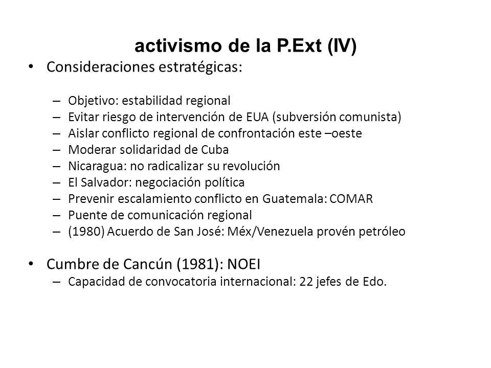 activismo de la P.Ext (IV) Consideraciones estratégicas: – Objetivo: estabilidad regional – Evitar riesgo de intervención de EUA (subversión comunista