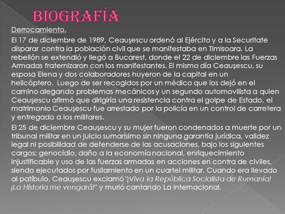 Derrocamiento. El 17 de diciembre de 1989, Ceauşescu ordenó al Ejército y a la Securitate disparar contra la población civil que se manifestaba en Tim