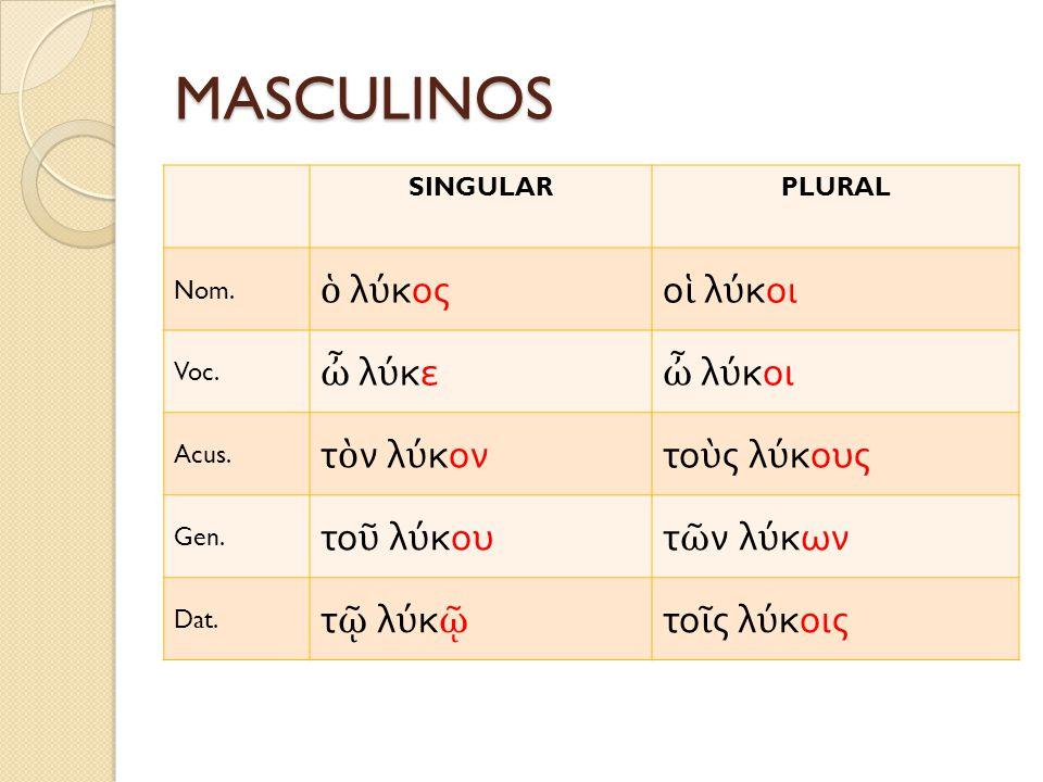 MASCULINOS SINGULARPLURAL Nom. λ κοςο λ κοι Voc. λ κε λ κοι Acus. τ ν λ κοντο ς λ κους Gen. το λ κουτ ν λ κων Dat. τ λ κ το ς λ κοις