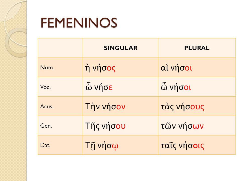 FEMENINOS SINGULARPLURAL Nom. ν σοςα ν σοι Voc. ν σε ν σοι Acus. Τ ν ν σοντ ς ν σους Gen. Τ ς ν σουτ ν ν σων Dat. Τ ν σ τα ς ν σ o ις