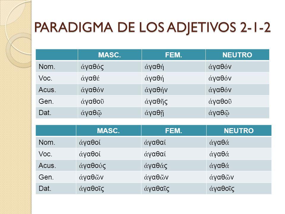 ADJETIVOS DEL TIPO 2-2 Son adjetivos de dos terminaciones, una común para el masculino y el femenino y otra para el neutro.