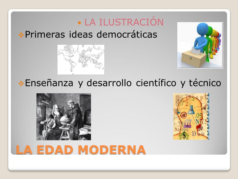 LA EDAD MODERNA LA ILUSTRACIÓN Primeras ideas democráticas Enseñanza y desarrollo científico y técnico