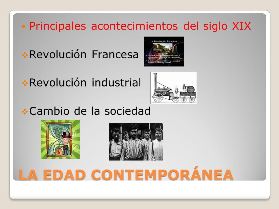 LA EDAD CONTEMPORÁNEA Principales acontecimientos del siglo XIX Revolución Francesa Revolución industrial Cambio de la sociedad