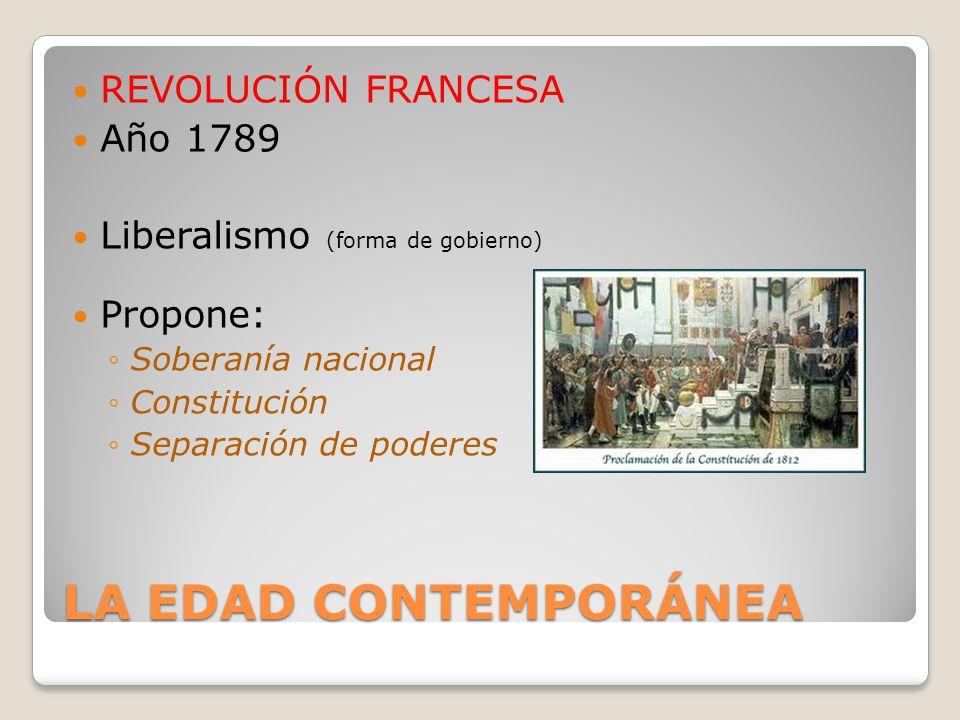 LA EDAD CONTEMPORÁNEA REVOLUCIÓN FRANCESA Año 1789 Liberalismo (forma de gobierno) Propone: Soberanía nacional Constitución Separación de poderes