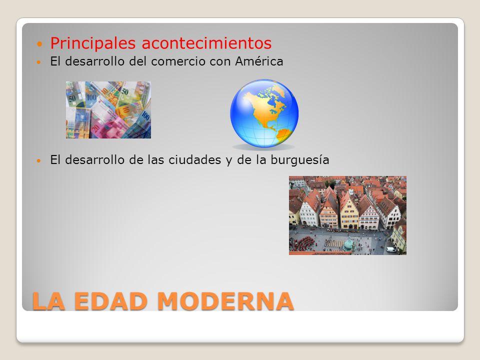 LA EDAD MODERNA Principales acontecimientos El desarrollo del comercio con América El desarrollo de las ciudades y de la burguesía