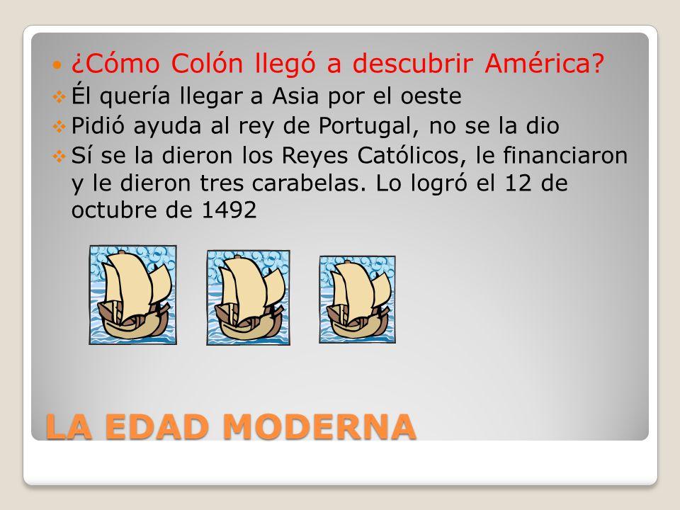 LA EDAD MODERNA ¿Cómo Colón llegó a descubrir América? Él quería llegar a Asia por el oeste Pidió ayuda al rey de Portugal, no se la dio Sí se la dier