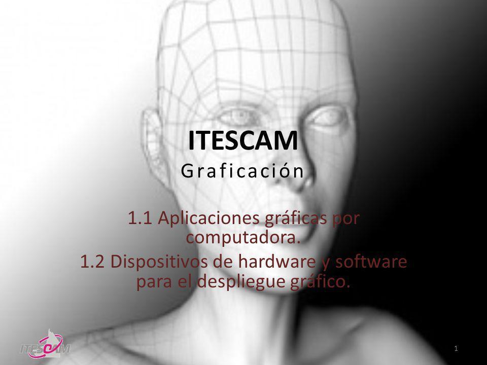 ITESCAM Graficación 1.1 Aplicaciones gráficas por computadora. 1.2 Dispositivos de hardware y software para el despliegue gráfico. 1