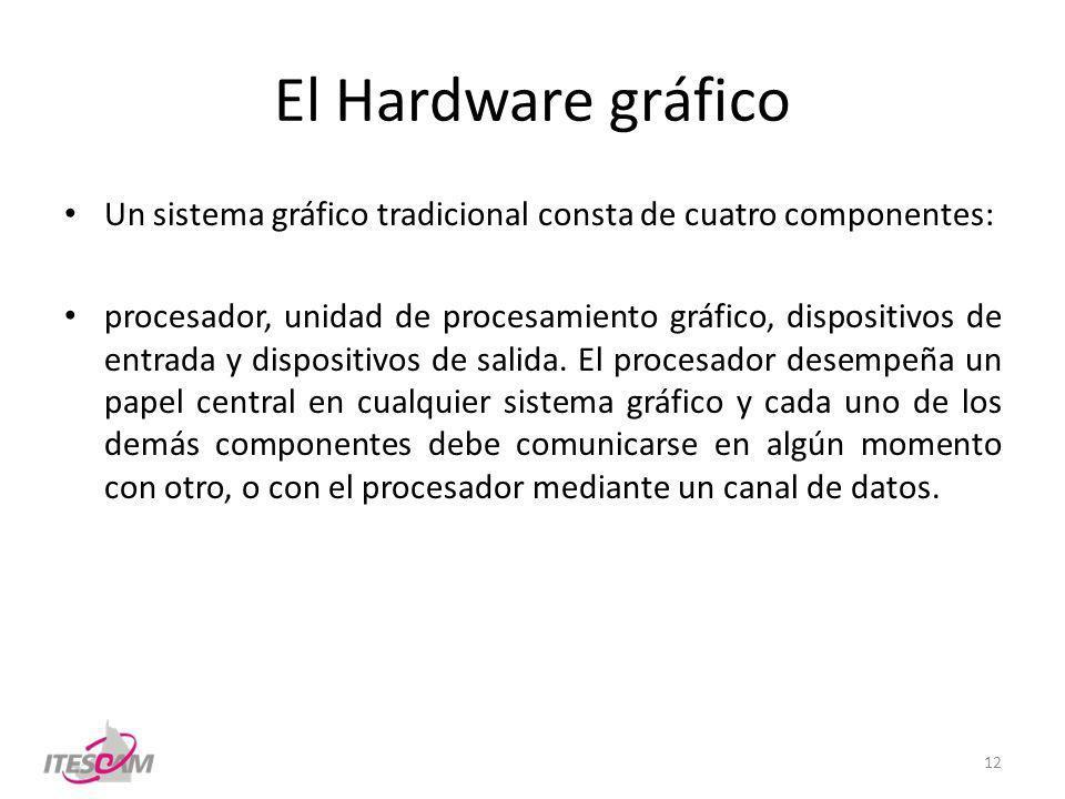 El Hardware gráfico Un sistema gráfico tradicional consta de cuatro componentes: procesador, unidad de procesamiento gráfico, dispositivos de entrada y dispositivos de salida.