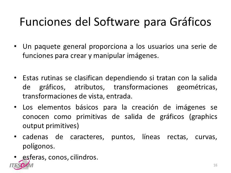 Funciones del Software para Gráficos Un paquete general proporciona a los usuarios una serie de funciones para crear y manipular imágenes.