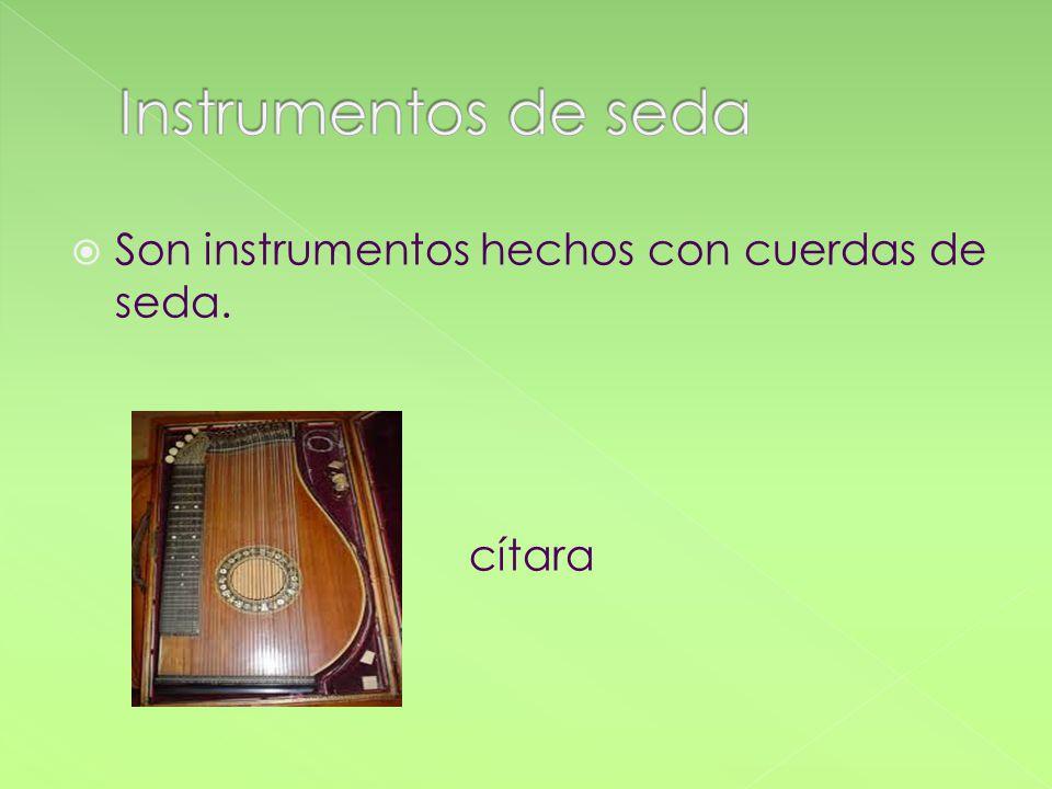 Son instrumentos hechos con cuerdas de seda. cítara
