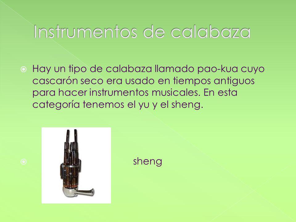 Hay un tipo de calabaza llamado pao-kua cuyo cascarón seco era usado en tiempos antiguos para hacer instrumentos musicales. En esta categoría tenemos