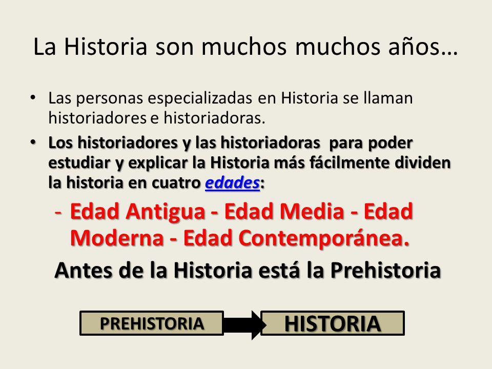 La Historia son muchos muchos años… Las personas especializadas en Historia se llaman historiadores e historiadoras.