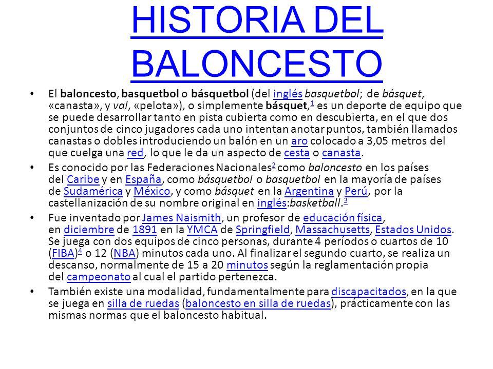 HISTORIA DEL BALONCESTO El baloncesto, basquetbol o básquetbol (del inglés basquetbol; de básquet, «canasta», y val, «pelota»), o simplemente básquet,