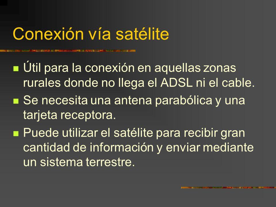 Conexión vía satélite Útil para la conexión en aquellas zonas rurales donde no llega el ADSL ni el cable. Se necesita una antena parabólica y una tarj